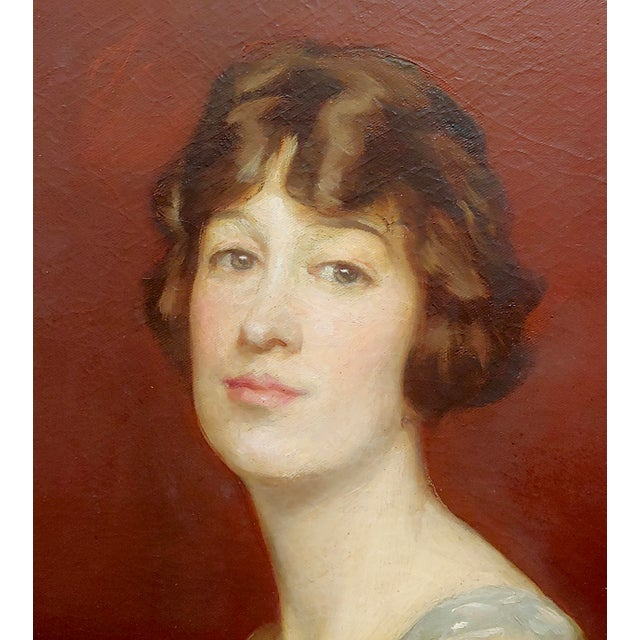 Roland Hinton Perry -Portrait of a Woman in a Stylish Dress -C.1919 Oil Painting For Sale In Los Angeles - Image 6 of 11