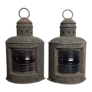 Pair of Antique Copper Nautical Lanterns For Sale