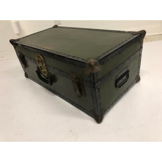 Vintage Industrial Military Drab Green Foot Locker Trunk Preview