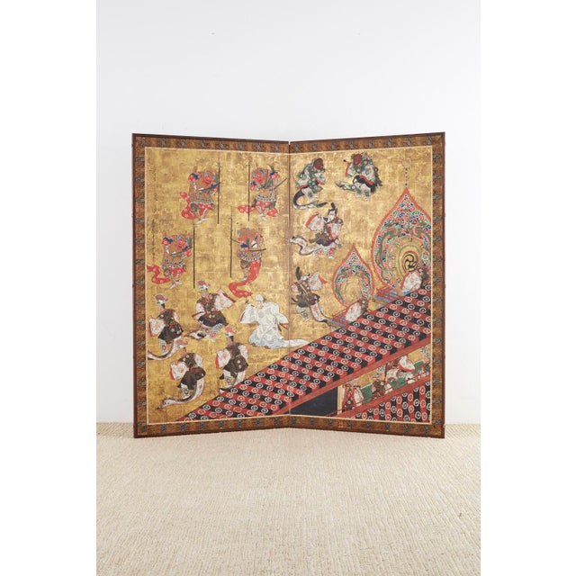 Asian Japanese Edo Bugaku Imperial Court Dance Two-Panel Screen For Sale - Image 3 of 13