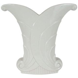 Art Deco White Porcelain Skyscraper Style Scroll Form Vase by Abingdon For Sale