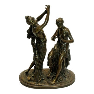19th Century French Bronze Sculpture of a Dancer & Musician Signed For Sale