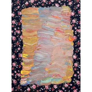 "Contemporary Floral Acrylic Painting on Vintage Textile by Frances Sousa, ""Purgatory"" For Sale"
