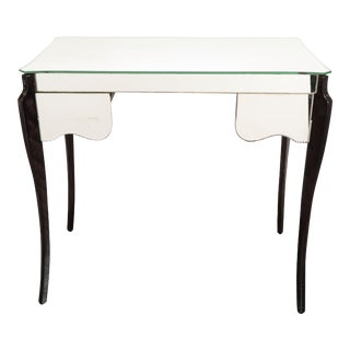 1940s French Directoire Style Mirrored Vanity Table with Ebonized Walnut Cabriolet Legs For Sale