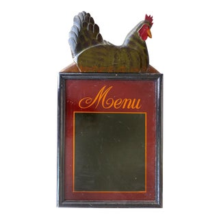 Carved & Hand-Painted Wood Menu Sign W/ a Rooster For Sale