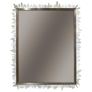 Framed Brazilian Hand-Cut Rock Crystal and Led Lit Mirror For Sale
