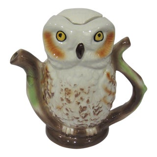 Tony Wood Owl Teapot Pitcher Made in England For Sale