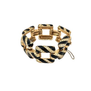 Ciner Pave Bracelet Chain Link Enameled Rhinestone Art Deco Stripes For Sale