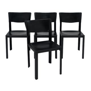 Vintage Black Leather Saporiti Chairs For Sale