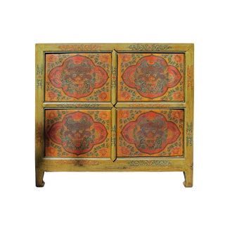 Chinese Tibetan Dragon Graphic Credenza Storage Cabinet