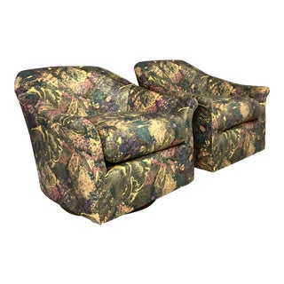 1980's Splatter Fabric Wood Base Swivel Chairs - a Pair