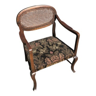 1950s Antiqued Caned Chair** For Sale