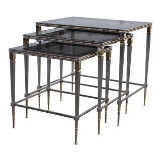 Glass Top Brass & Stainless Steel Nesting Tables - Set of 3