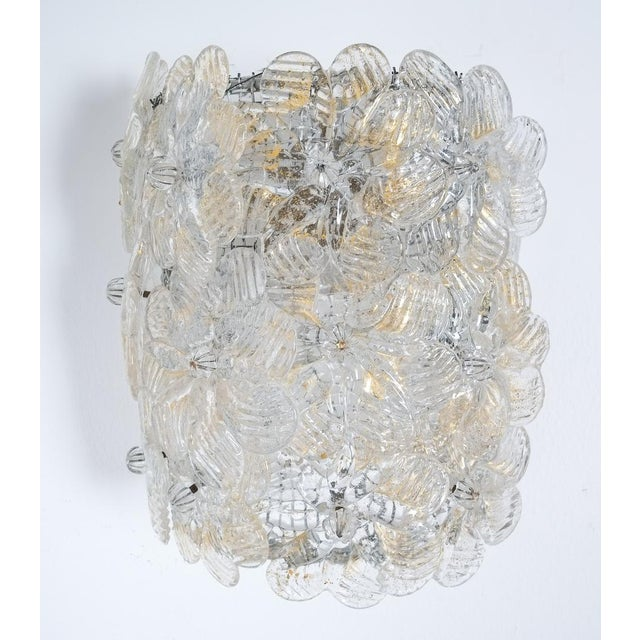 Mid-Century Modern One of Three Barovier Toso Flower Glass Sconces For Sale - Image 3 of 8