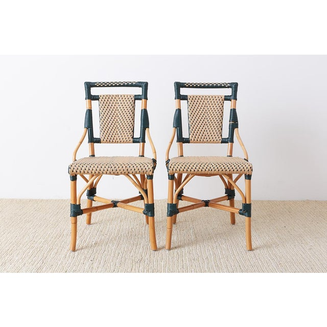 Art Deco Pair of Palecek Bamboo Rattan Bistro Cafe Chairs For Sale - Image 3 of 13