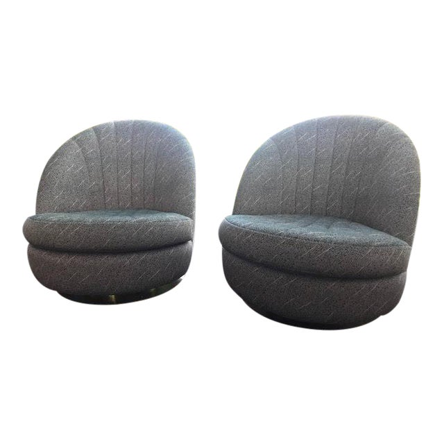 Swivel Club Chairs by Milo Baughman for Thayer Coggin - a Pair For Sale