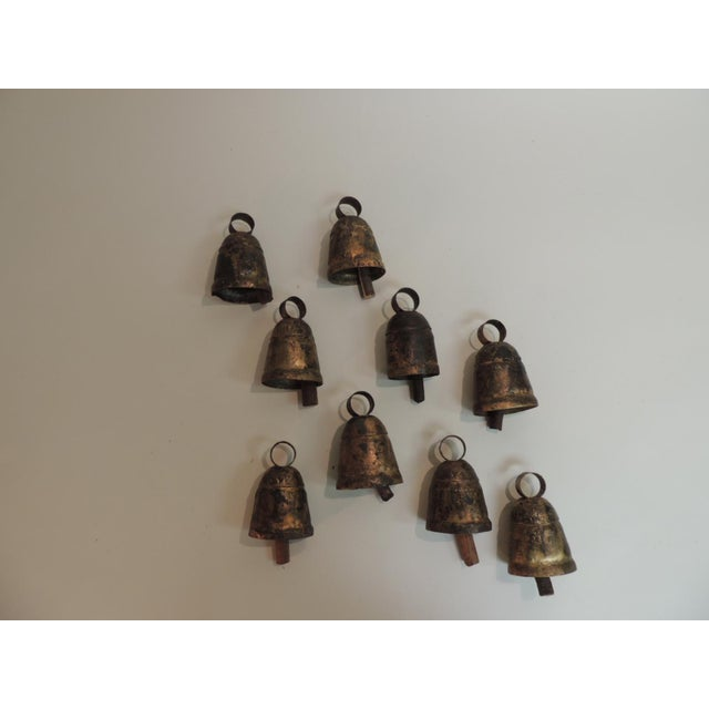 Boho Chic Vintage Metal Indian Cow Bells With Wooden Chimes For Sale - Image 3 of 6