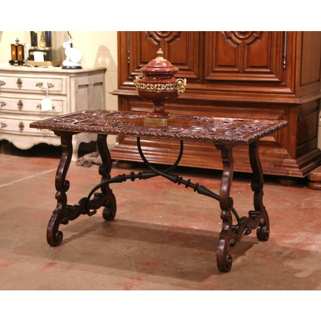 19th Century Spanish Carved Walnut and Wrought Iron Console Center Table For Sale - Image 13 of 13