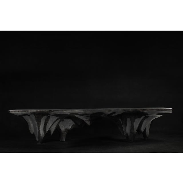Metal Arctic Dining Table in Charcoal Parchment & Stainless Steel For Sale - Image 7 of 8