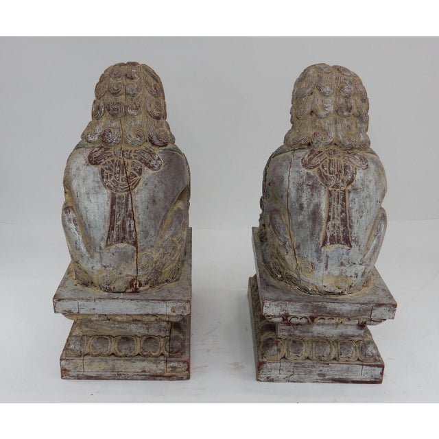 Wood Antique Qing Dynasty Temple Foo Dogs - A Pair For Sale - Image 7 of 11