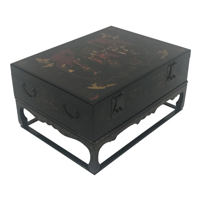 Asian Black Laquer Box on Custom Stand Coffee Table For Sale