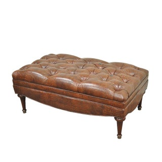 """43"""" Brown Leather Tufted Chesterfield Gator Print Wood Ottoman Coffee Table"""