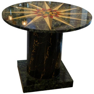 Grand Tour Revival Faux Marble Round Center Table For Sale