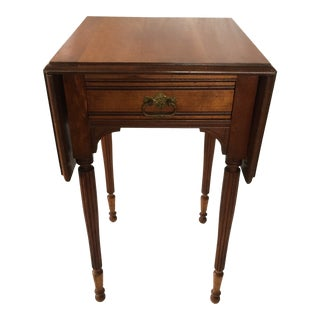 Cherry Wood Drop Leaf Side Table With Drawer For Sale