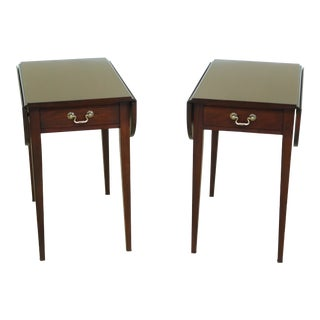 Pair Henkel Harris Model 5406 Mahogany Pembroke Tables For Sale