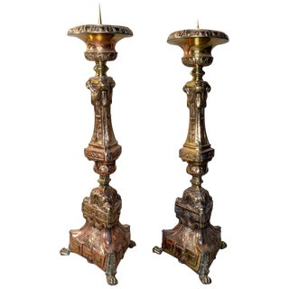 Oversized 19th Century Italian Brass Candlesticks - a Pair For Sale
