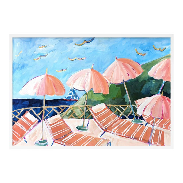 Cabana 7 by Lulu DK in White Framed Paper, Medium Art Print For Sale