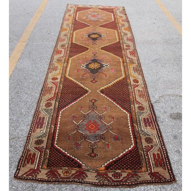 Vintage Tribal Turkish Hand Knotted Rug - 4' X 12'2 - Image 2 of 6
