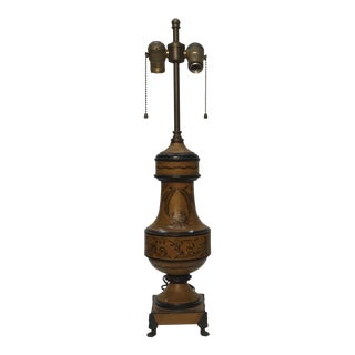 Early 20th Century Handpainted Vintage French Tole Lamp For Sale
