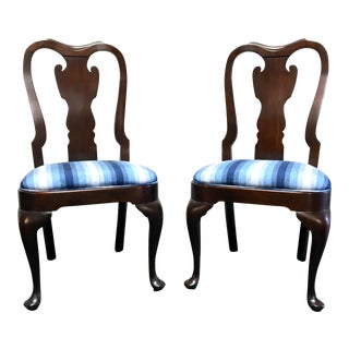 Statton Old Towne Solid Cherry Queen Anne Dining Side Chairs - Pair 1