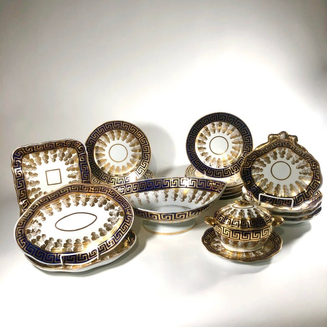 Complete Early 19th Century English Neoclassical Coalport Porcelain Dessert Service - 25 Piece Set For Sale - Image 12 of 12