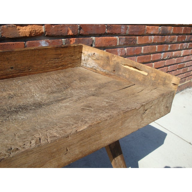 Primitive Wood Butcher Block Table - Image 4 of 5