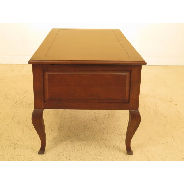 Sligh-Lowry Furniture Co. 1990s Sligh French Style Leather Top Cherry Executive Desk For Sale - Image 4 of 13