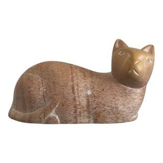 Vintage Soap Stone Carved Cat Sculpture For Sale