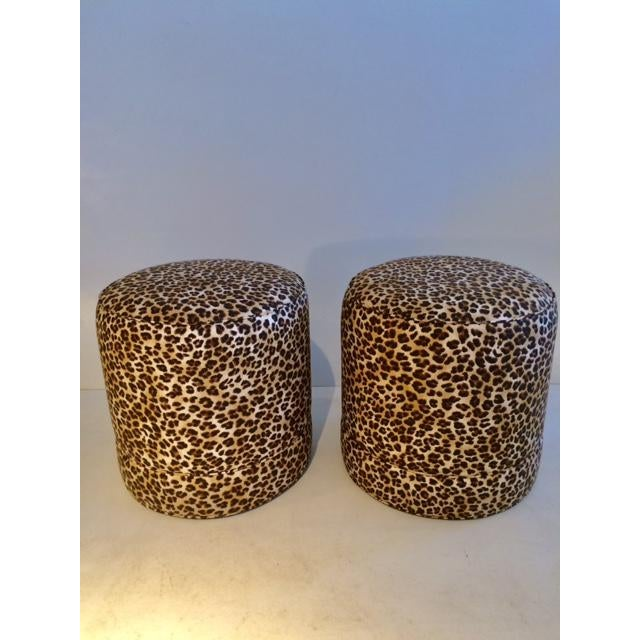 Todd Hase Namesake Leopard Print Ruth Drum Ottomans- A Pair For Sale - Image 12 of 13