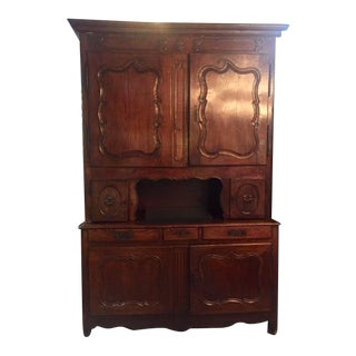 Late 18th Century French Cabinet With Carved Flower Motif For Sale