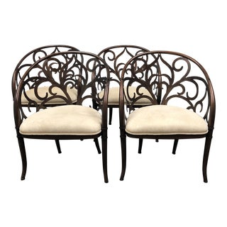 Artistica Home Laser Cut Scroll Iron & Fabric Dining Chairs - Set of 4