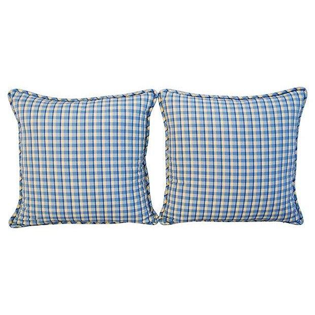 Custom-Made English Plaid Gingham Pillows - A Pair - Image 7 of 7
