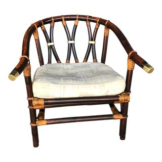 Vintage Ficks Reed Rattan Horseshoe Chair For Sale