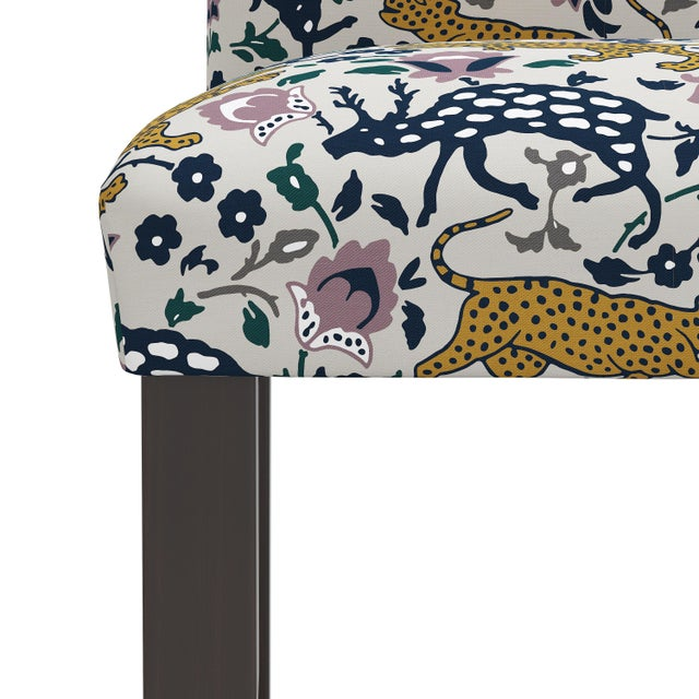 Not Yet Made - Made To Order Leopard Mustard Plum Fabric Counter Stool For Sale - Image 5 of 8