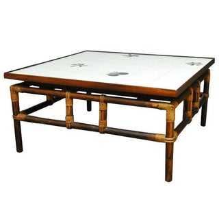 Ficks Reed Tile and Bamboo Coffee Table For Sale