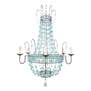 Arteriors Home Versailles Large Aqua Glass Chandelier For Sale