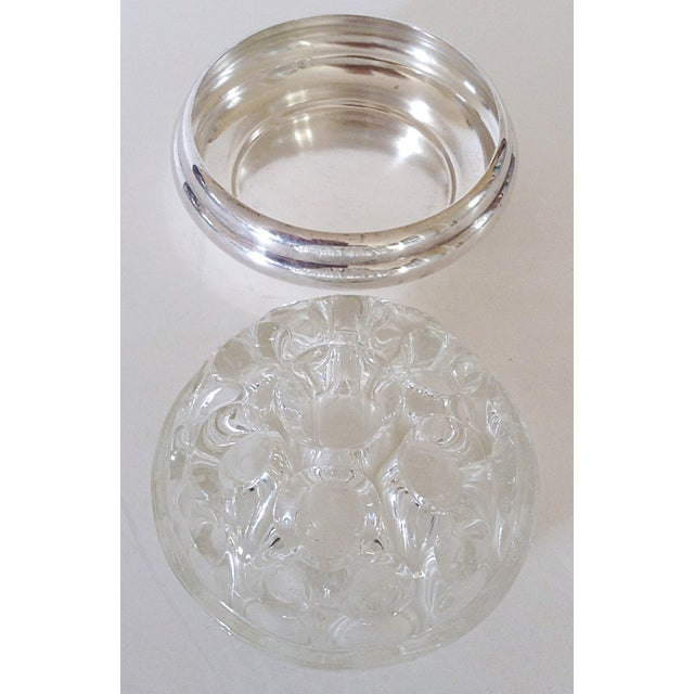 Art Deco Maison Christofle Glass & Silver Flower Frog For Sale - Image 3 of 4