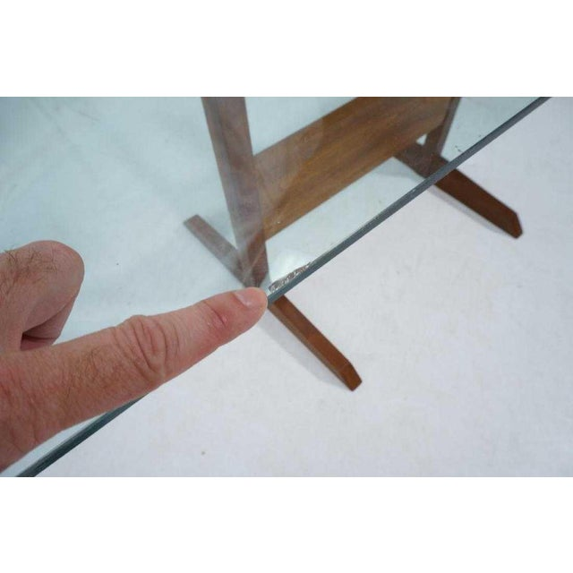 Modernist Walnut Glass Dining Table For Sale - Image 4 of 5