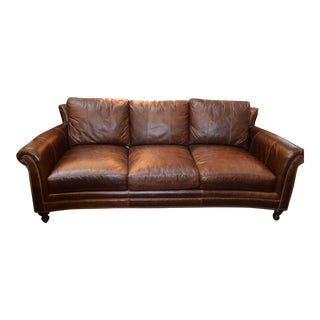 Bradington Young Aniline Brown Leather Sofa For Sale