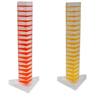 Orange & Yellow Lucite Sculptures - A Pair